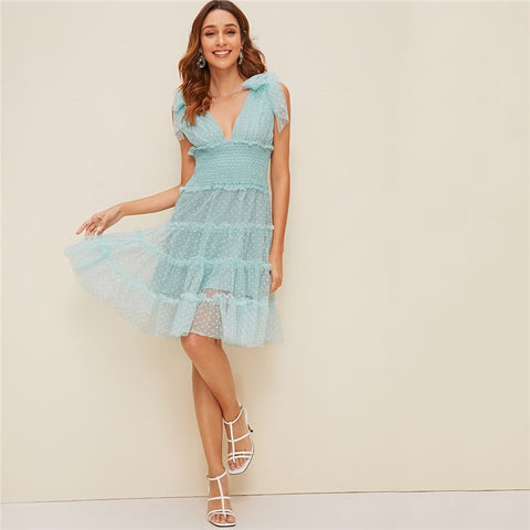 Shoulder Knot Plunging Neck Mesh Lace Dress Women Romantic Sleeveless Deep V Neck Midi Dress A Line Pink Summer Dress