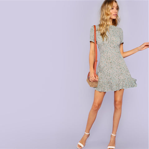 Multicolor Allover Floral Print Ruffle Hem Textured Dress Elegant Casual Fit and Flare Dresses Women A Line Summer Dress