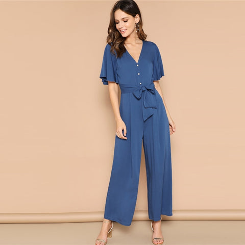 Blue Button Front Flutter Sleeve Belted Palazzo Jumpsuit Spring High Waist V neck Flounce Sleeve Women Jumpsuits