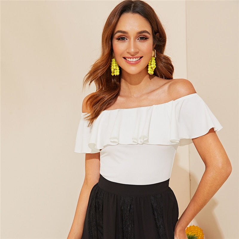 Elegant White Flounce Off Shoulder Fitted Top Solid T Shirt Women Summer Sleeveless Basics Slim Tshirt Tops