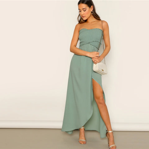 Off The Shoulder Frill Trim Smocked Slit Hem Tube Dress High Waist Green Solid Women Sleeveless Fit And Flare Dresses