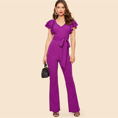 Purple Layered Sleeve Belted Flare Leg Plain Jumpsuit 2019 Spring V Neck High Waist Butterfly Sleeve Workwear Jumpsuits