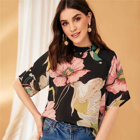 Multicolor Stand Collar Botanical Print Blouse Top Women Summer Half Sleeve Keyhole Back Casual Workwear Tops and Blouses