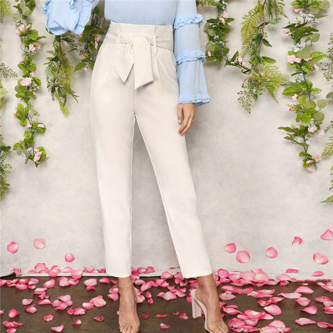Women White Elegant High Waist Self Belted Carrot Plain Pants 2019 Spring Office Lady Basic Workwear Women Trousers