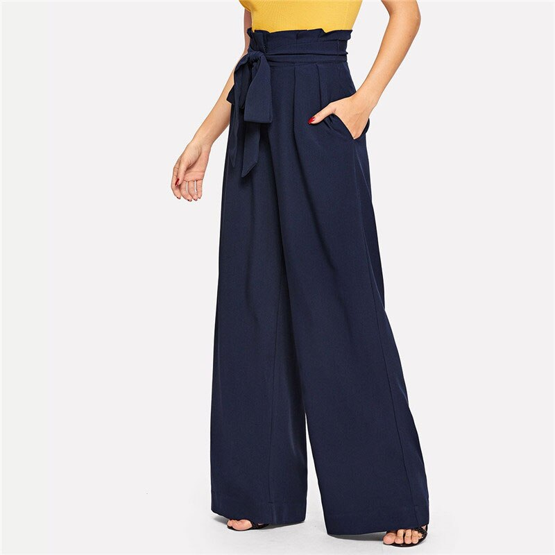 Navy Paperbag Waist Pocket Wide Leg Pants Casual Elastic High Waist Belted Trousers Women Long Pants For Spring