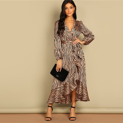 Deep V Neck Shawl Collar Surplice Wrap Flounce Animal Zebra Belted Fit and Flare Mid Waist Dress Women Autumn Dress