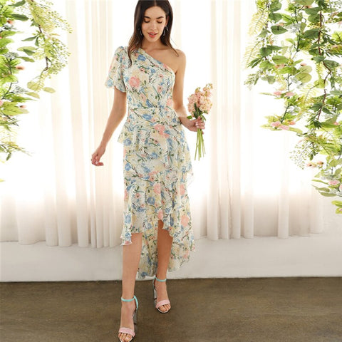 Glamorous Multicolor One Shoulder Ruffle Asymmetrical Dip Hem Floral Puff Sleeve Pencil Dress 2019 Spring Dresses