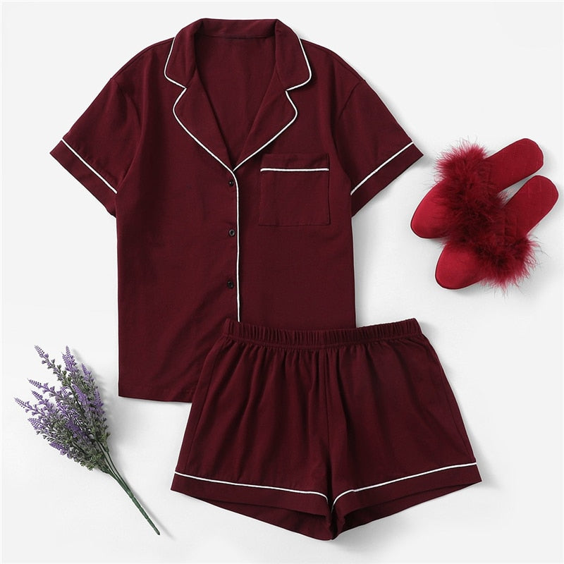 Burgundy Contrast Piping Pocket Front Shirt And Shorts PJ Set Women Plain Button Short Sleeve Casual 2019 Nightwear