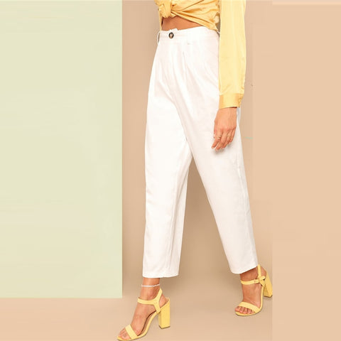 White Buttoned Front Straight Leg Pants Women Spring Casual Elegant Trousers Zipper Fly Solid Mid Waist Crop Pants