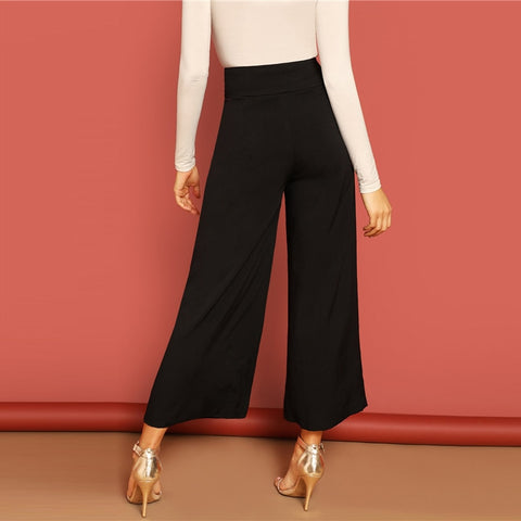 Button Fly High Waist Wide Leg Pants Women Elegant OL Work 2019 Spring Loose Solid Minimalist Workwear Trousers