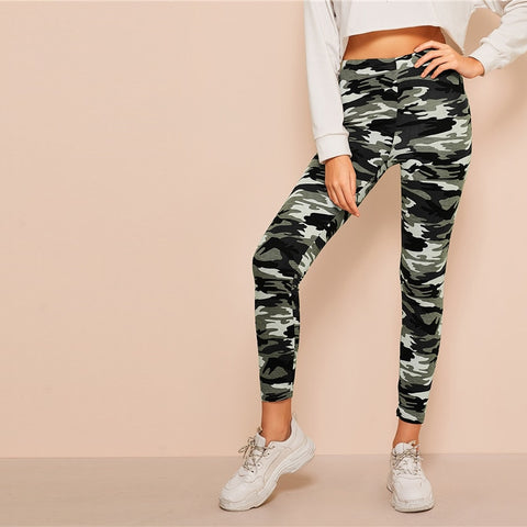 Camo Print Leggings Women Leggings 2019 Casual Style Spring Summer Autumn Stretchy Fitness Crop Leggings