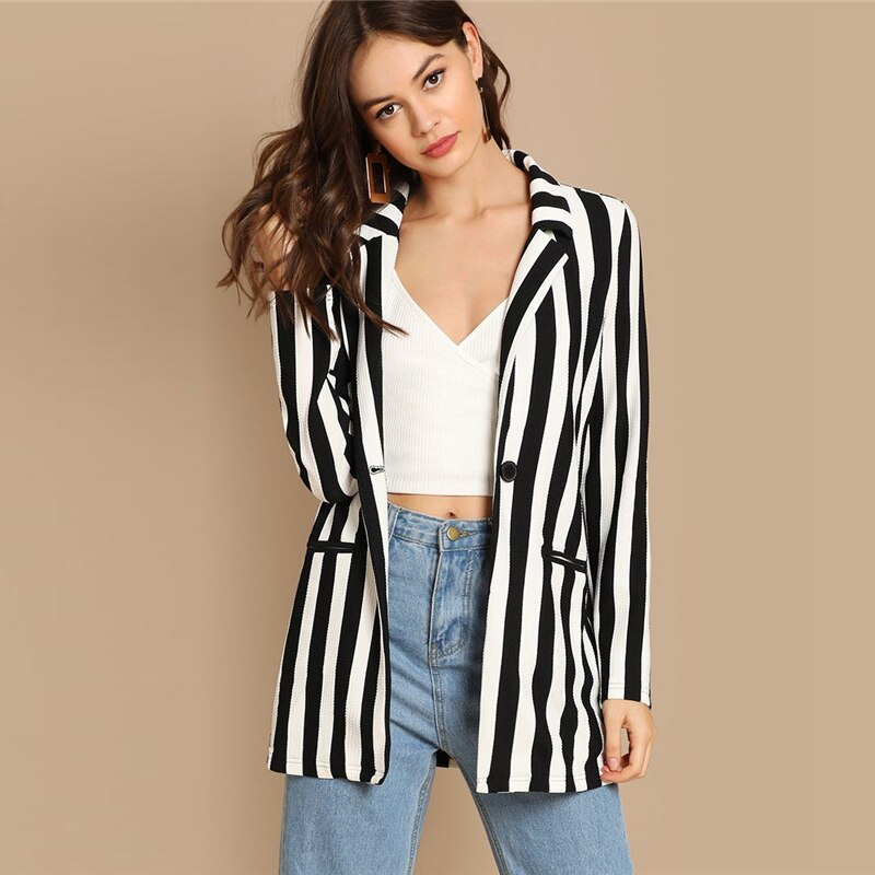 Black And White Notch Collar Striped Textured Blazer Women Spring High Street Long Sleeve Single Button Casual Outer
