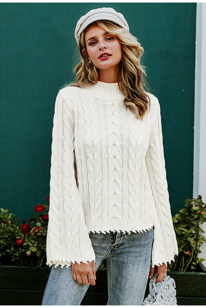 White knitted sweater women Turtleneck flare sleeve tassel ladies pullover jumper Autumn winter solid sweater female