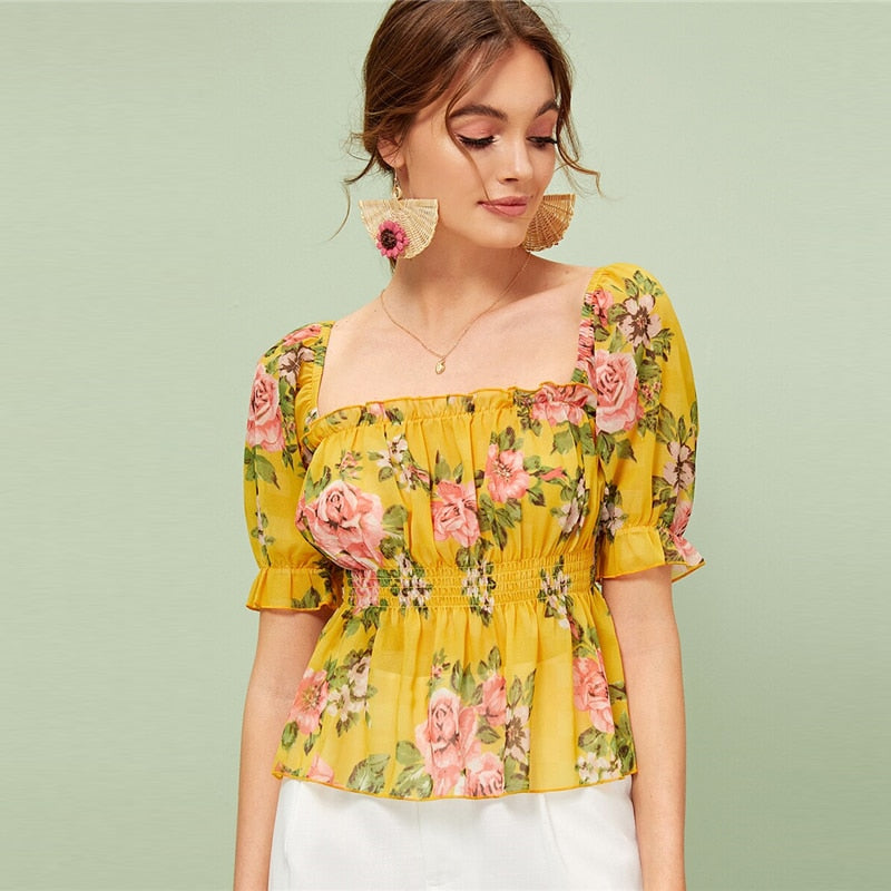 Floral Print Frill Trim Peplum Top Women Summer Flared Shirred Blouses Boho Ginger Ruffle Hem Womens Tops and Blouses