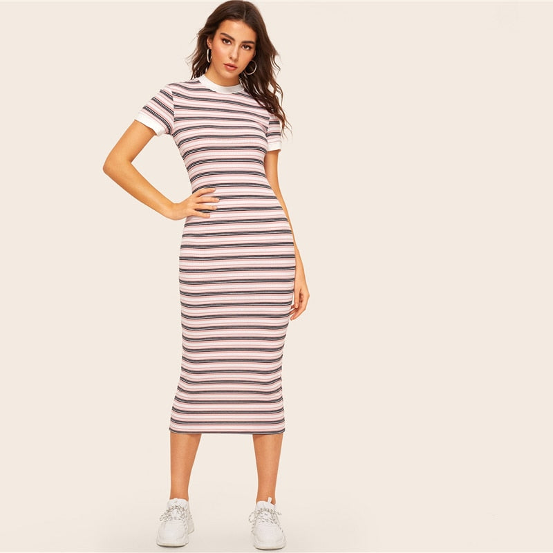 Contrast Neck And Cuff Striped Pencil Dress 2019 Preppy Colorblock Stretchy Spring Autumn Bodycon Women Dresses