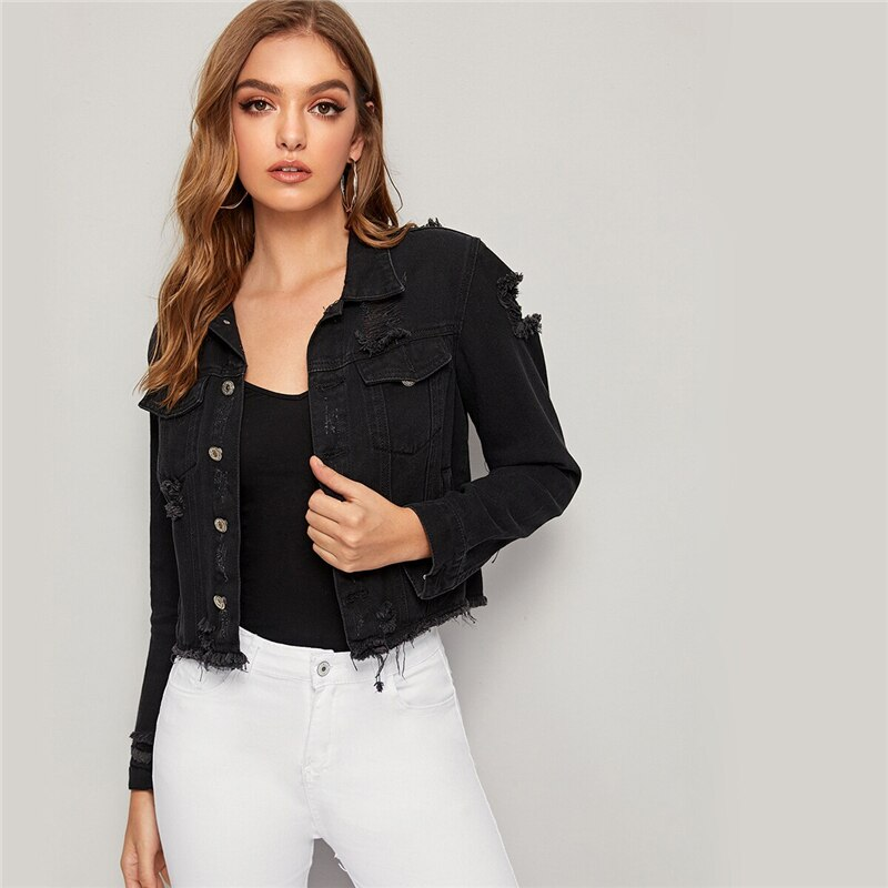 Black Wash Ripped Frayed Edge Denim Jacket Coat Women Spring Autumn Single Breasted Long Sleeve Streetwear Casual Jackets