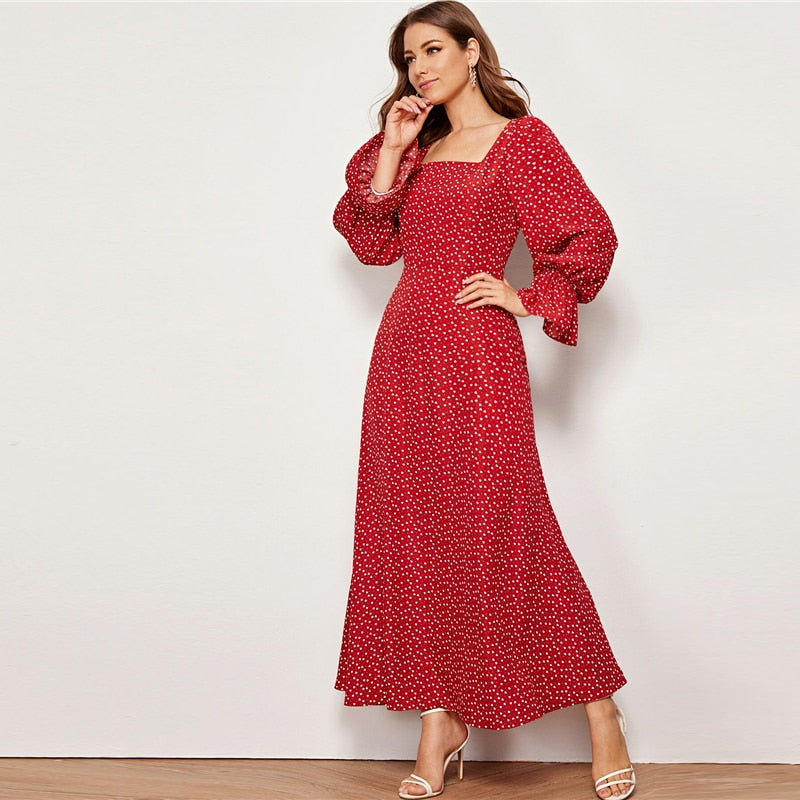 Red Square Neck Heart Print Elegant Long Dress Women Autumn Flounce Sleeve High Waist Zipper Back Flared Maxi Dresses