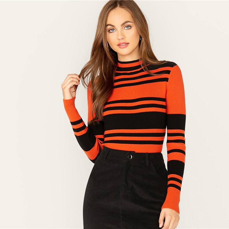 Multicolor Mock Neck Striped Slim Fitted Pullover Sweater Women Tops Autumn Winter Long Sleeve Rib-Knit Elegant Sweaters