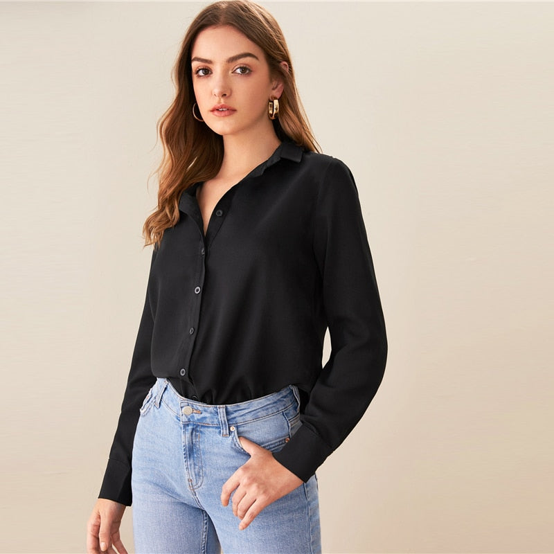 Black Solid Turn-Down Collar Casual Blouse Shirt Women Tops Autumn Long Sleeve Asymmetrical Hem Office Ladies Blouses