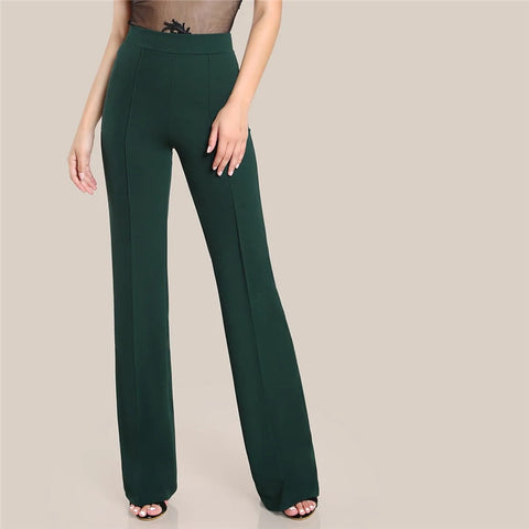Ginger High Rise Piped Pants Elegant Wide Leg Zipper Fly Plain Workwear Trousers Women Stretchy Highstreet Autumn Pants