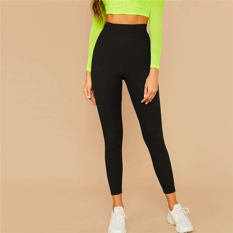 Black Solid Ribbed Knit Skinny Basic Leggings Women Bottoms 2019 Autumn Active Wear Stretchy Cropped Casual Trousers