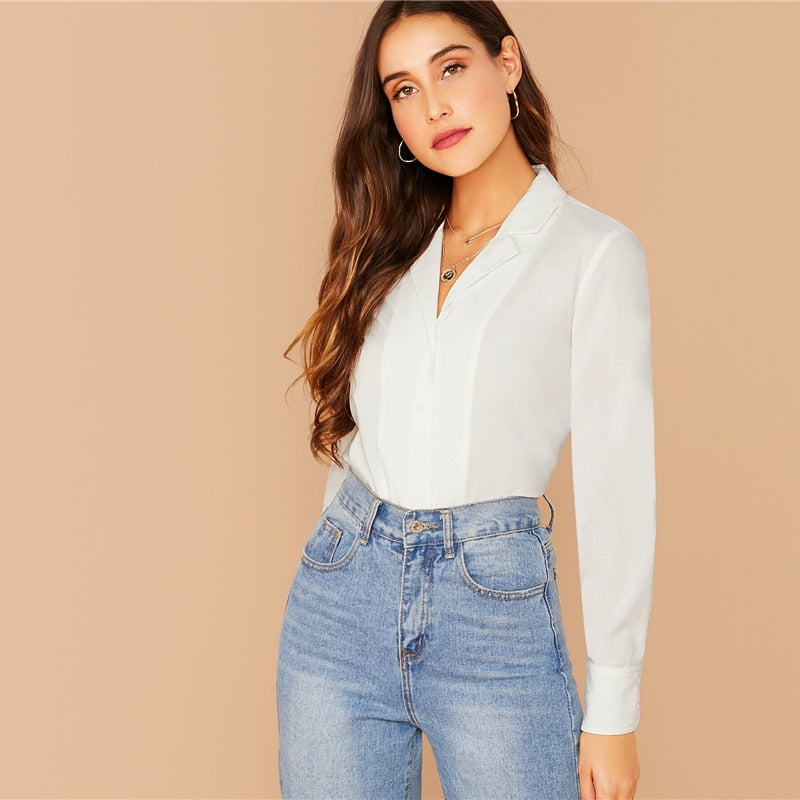 White Notch Collar Solid Shirt Blouse Women Spring Autumn Long Sleeve Buttoned Solid Casual Tops and Blouses