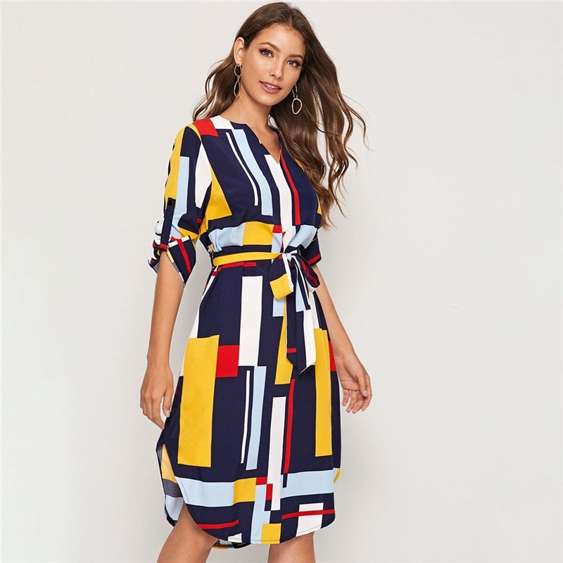 Geometric V Cut Neck Colorblock Casual Dress With Belt Women 2019 Autumn Roll Up Sleeve Button Side Straight Midi Dresses