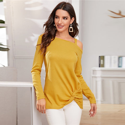 Yellow Asymmetrical Neck Twist Hem Casual Sweater Women Autumn Winter Streetwear Long Sleeve Solid Ladies Casual Sweaters