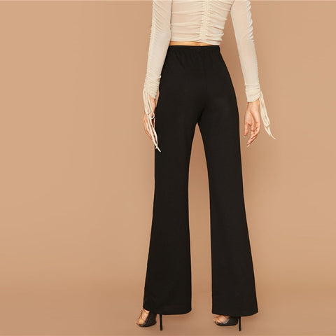Black Solid High Waist Flare Leg Elegant Pants Women Autumn Elastic Waist Loose Office Ladies Stretchy Long Trousers