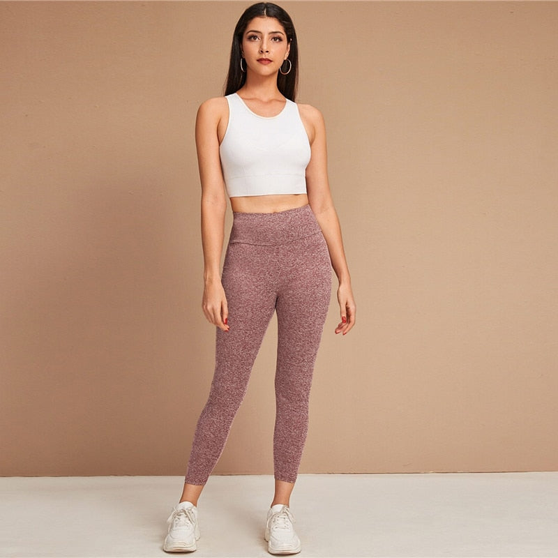 Burgundy Wide Waistband Space Dye Leggings Women Summer Autumn Stretchy Mid Waist Sporting Casual Cropped Leggings
