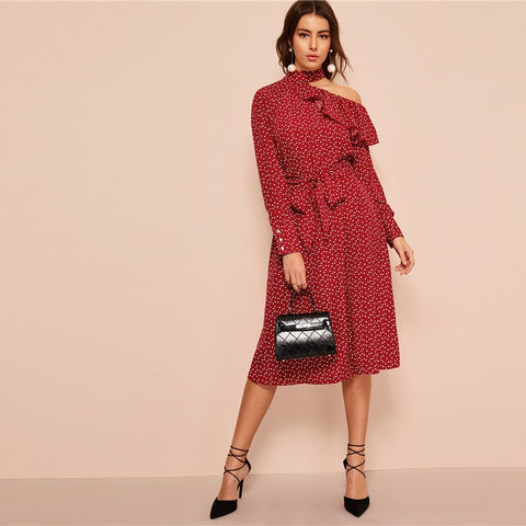 Polka Dot Print Ruffle Trim Cut Out Neck Sexy Dress Women Clothes 2019 Spring Glamorous Long Sleeve Belted Midi Dress