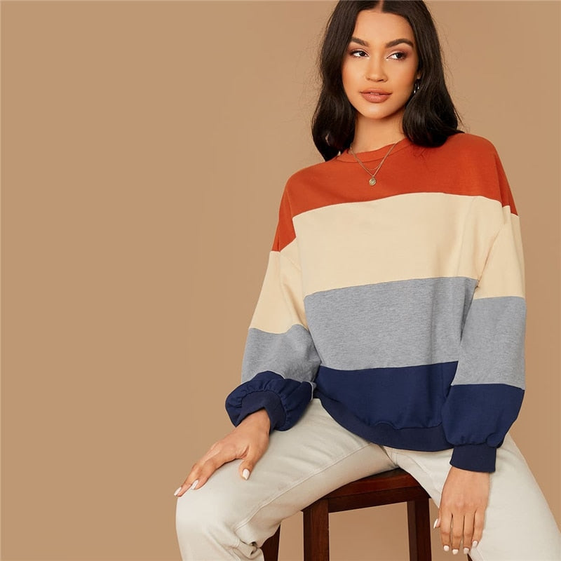 Colorblock Striped Casual Autumn Sweatshirts Women Tops Winter Round Neck Bishop Sleeve Multicolor Basic Ldies Sweatshirts