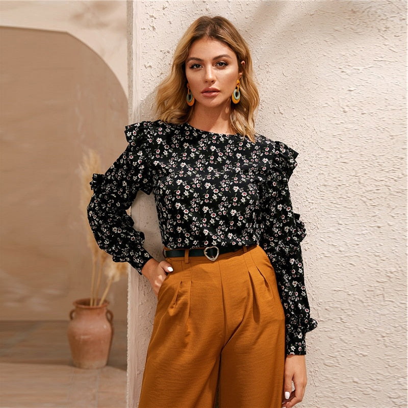 Black Ditsy Floral Ruffle Trim Blouse Women Tops Spring Autumn Long Sleeve O-Neck Keyhole Black Casual Boho Blouses