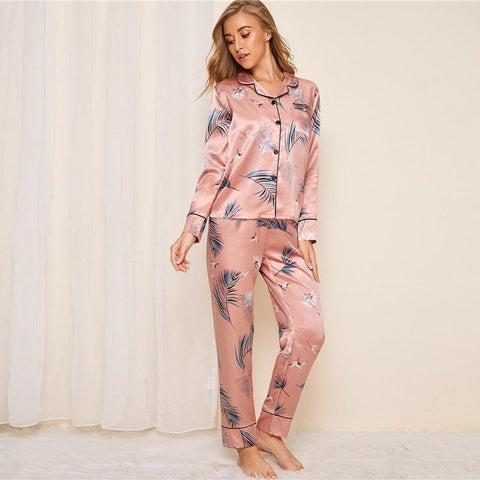 Pink Crane and Leaf Print Satin Pajama Set Women Autumn Casual Short Sleeve Pocket Sleepwear Long Pants Pajama Sets