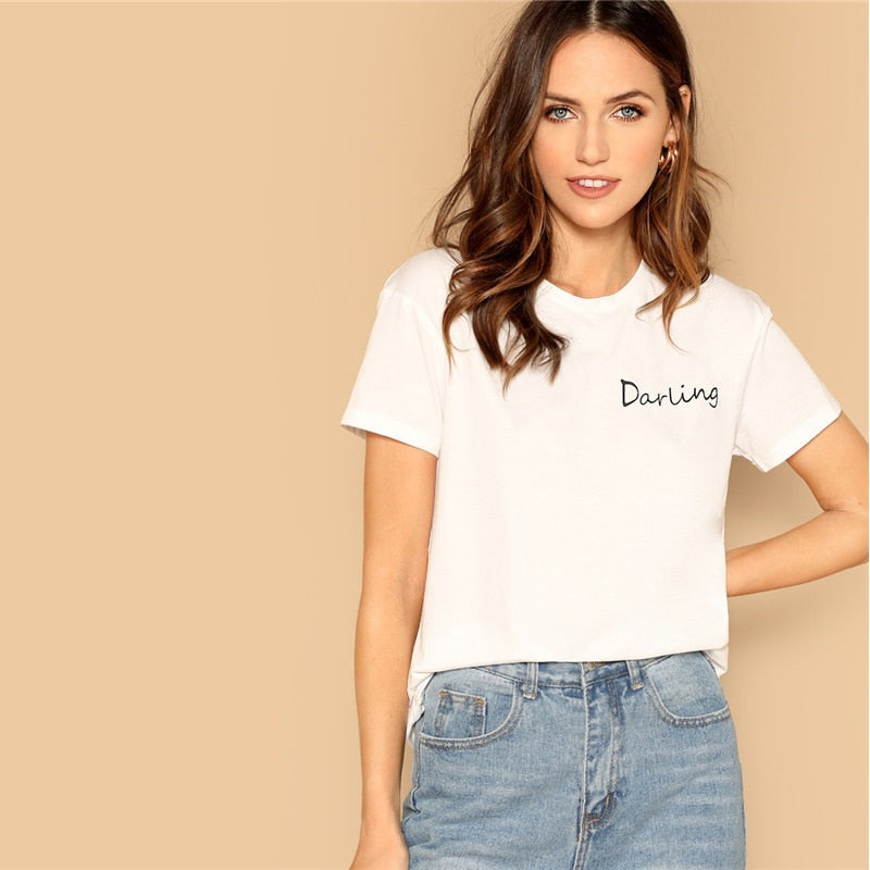 Going Out Highstreet White Letter Print Elegant Tee 2019 Summer Women Minimalist Round Neck Short Sleeve Tshirt Tops