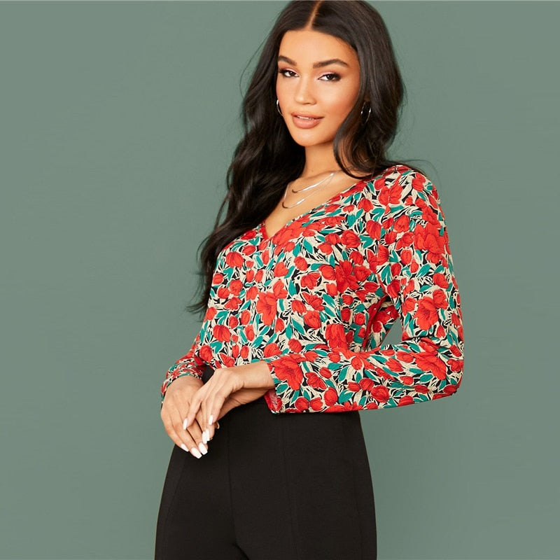 Multicolor V Neck Floral Print Casual Blouse Women Tops 2020 Spring Streetwear Long Sleeve Elegant Ladies Basic Blouses