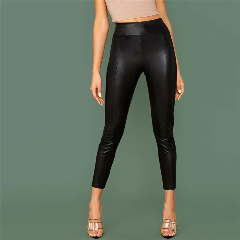Black Elastic Waist Seam Front Leather Look Pants Women Spring Solid Ladies Skinny Glamorous Cropped Trousers