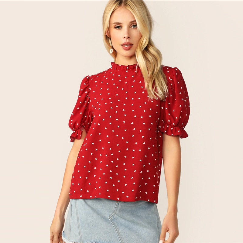 Frilled Neck Puff Sleeve Confetti Heart Print Top Red Stand Collar Short Sleeve Blouse Elegant Women Summer Blouses