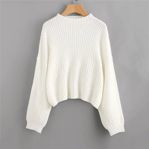 White Drop Shoulder Lantern Sleeve Oversized Jumper Solid Sweater Pullover Women Winter High Neck Casual Sweaters