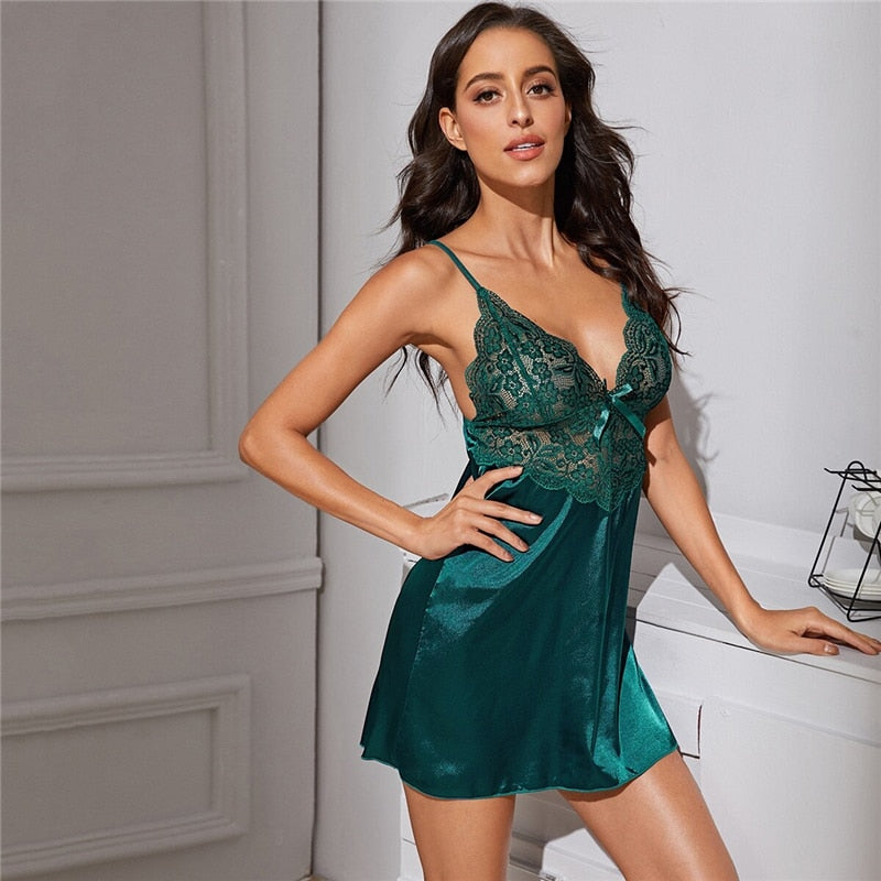Green Contrast Lace Satin Sexy Dress With Thong Women Nightwear Spring Deep V Neck Sleeveless Ladies Sexy Sleep Dresses