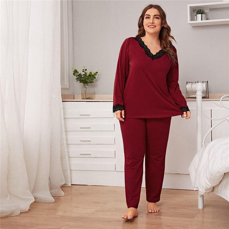 Plus Size Burgundy Lace Trim Top and Pants PJ Set Women Spring Autumn Long Sleeve V-neck Casual Sleepwear Pajama Sets