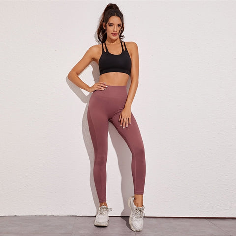 Nude Wide Band Waist Crop Sporting Leggings Women Bottoms 2020 Spring High Elastic Waist Casual Ladies Stretchy Leggings