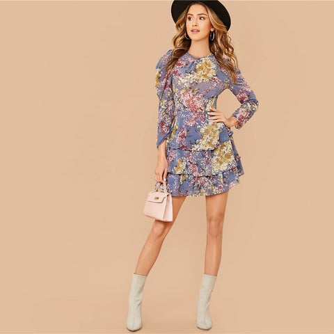 Allover Botanical Print Gigot Sleeve Layered Hem Chiffon Dress Women Spring O-neck High Waist Short A Line Boho Dresses