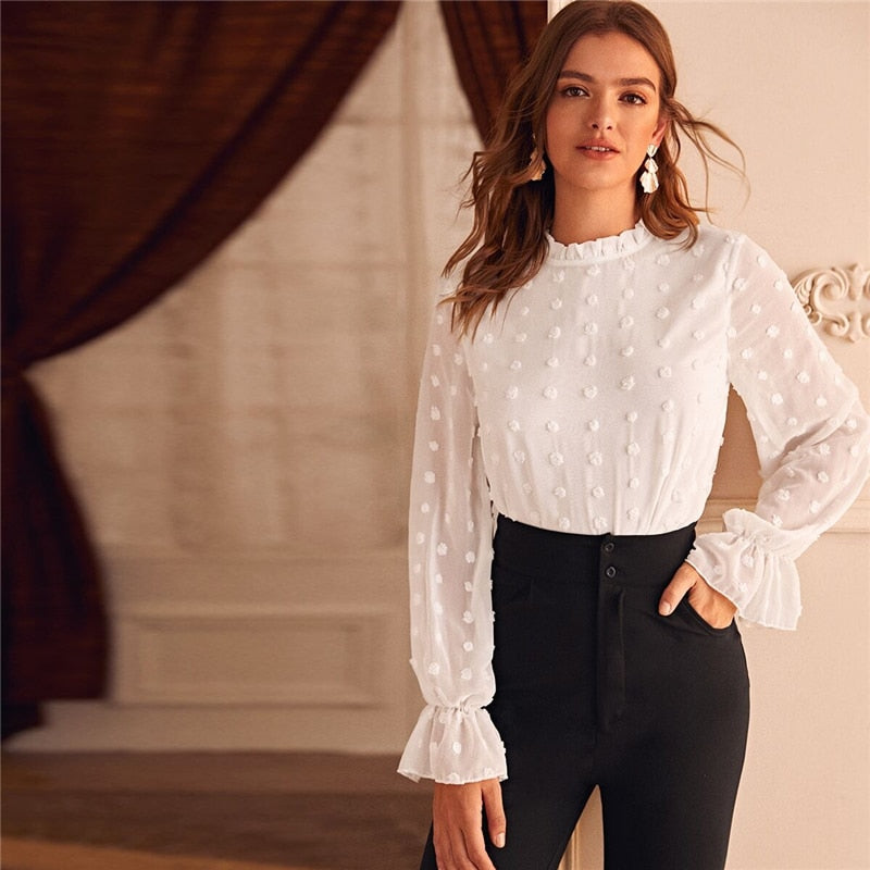 White Swiss Dot Flounce Sleeve Solid Blouse Women Spring Summer Frilled Collar Office Ladies Elegant Blouses and Tops