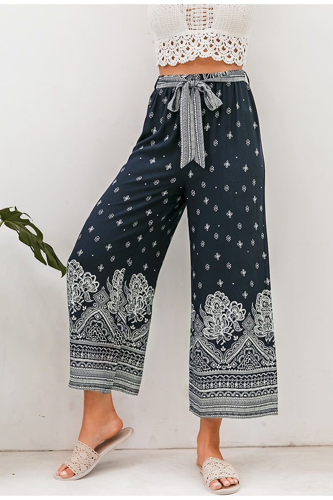 Boho vintage print long women summer pants Bohemian wide leg loose pants trousers floral holiday beach female pants