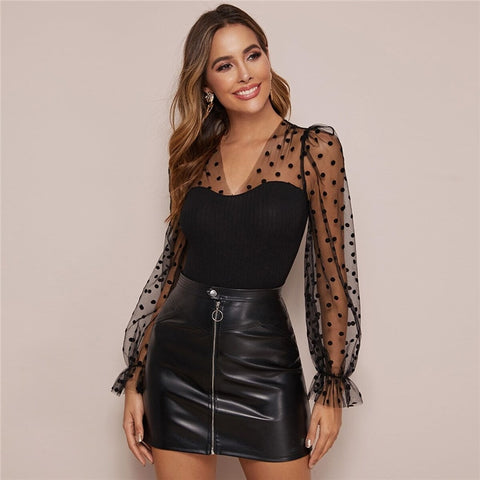 Black V Neck Polka Dot Mesh Glamorous Tee Women Tops Spring Flounce Sleeve Form Fitted Ruffle Laides Elegant Tops And Tees