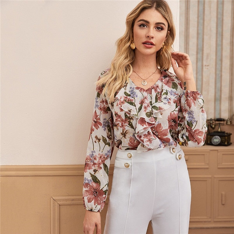 V Neck Floral Print Ruffle Trim Elegant Blouse Women Tops 2020 Spring Multicolor Long Sleeve Ladies Boho Blouses And Tops