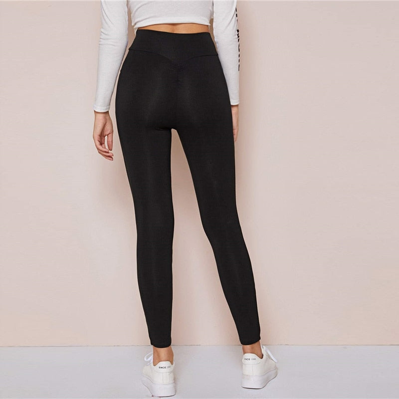 Black Wide Waistband Solid Casual Leggings Women Bottoms 2020 Spring Active wear Ladies Autumn Stretchy Cropped Pants