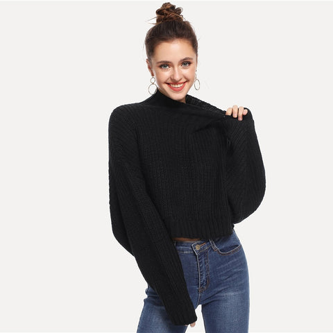 Black Solid High Neck Crop Boxy Autumn Sweater Women Tops 2019 Winter Streetwear Long Sleeve Casual Ladies Sweaters