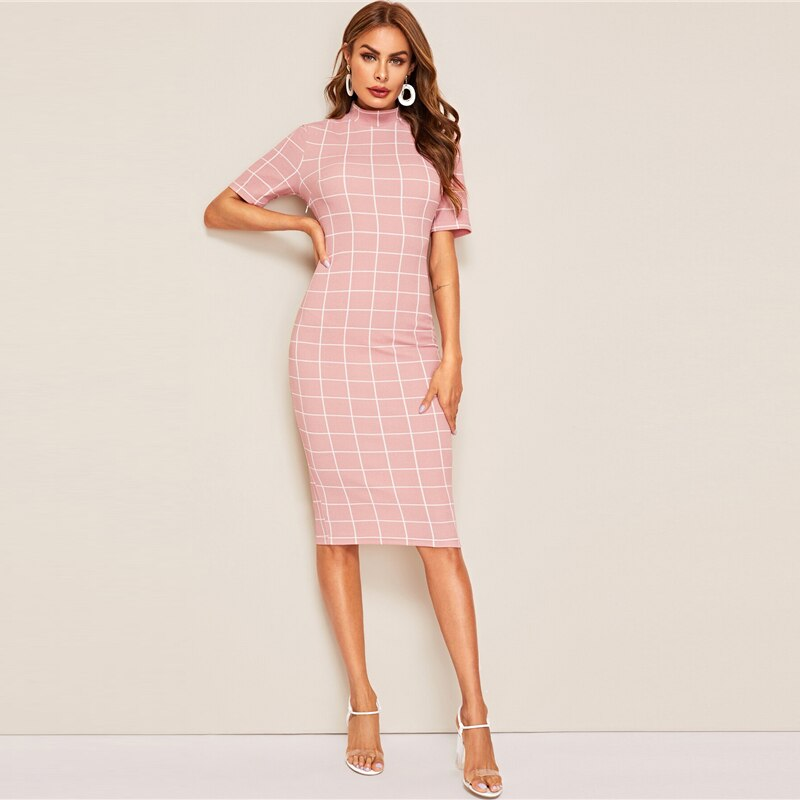 Mock-Neck Grid Textured Pencil Dress Elegant Women Pink Zipper Stand Collar 2019 Summer Dress Short Sleeve Bodycon Dress